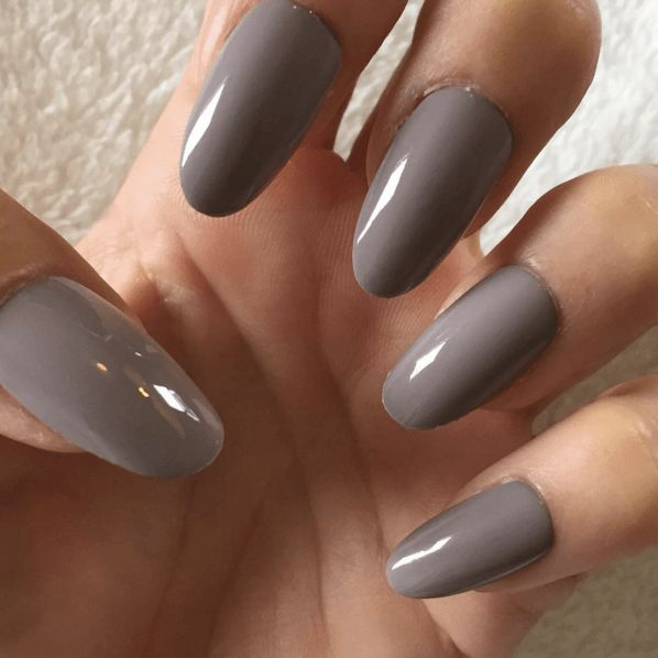 Long taupe nails with cool undertones