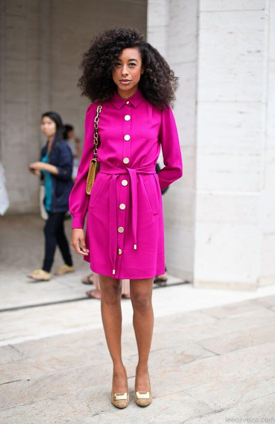 Corinne Bailey Rae with a pink dress