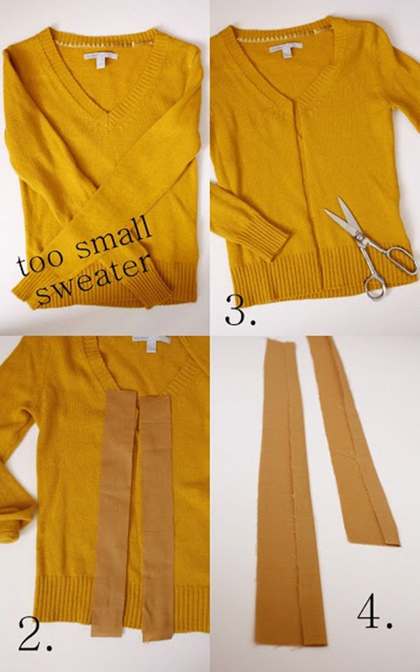 Steps in making DIY cardigans. Recycle old long sleeved shirts into cardigans.
