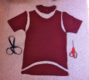 Materials needed to make the cutout shirt