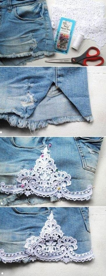 Adding details to regular shorts by adding lace