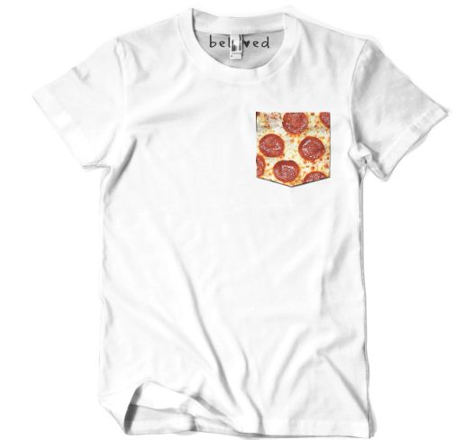 A pepperoni pocket against a white shirt. Look trendy and try out different patterns to use as pocket shirts.
