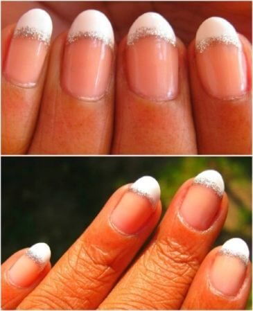 Add glitter to French nails by tracing the nail line