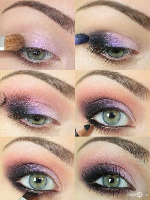 Light pink shade applied to lid, darker purple smudged on outer lids, dark eyeliner on top and bottom lids, mascara to complete