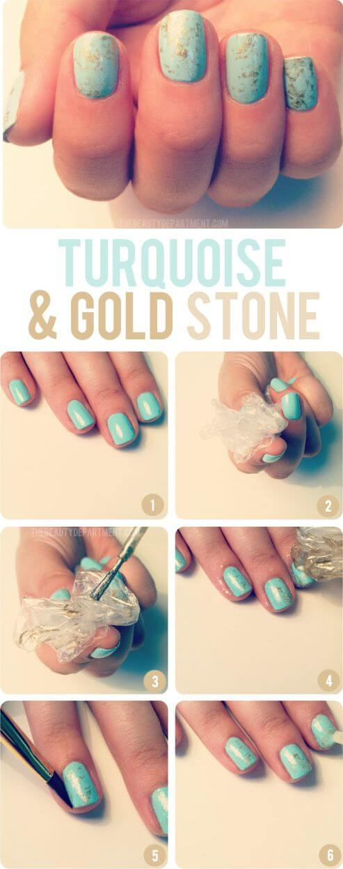Stun people with this gold and turquoise nails.