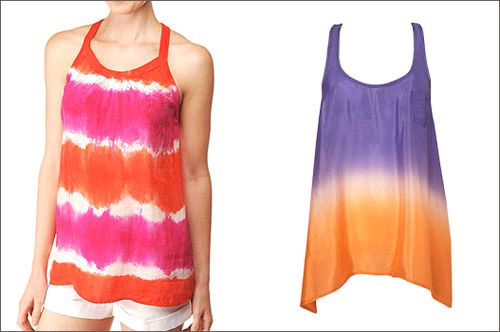 2 finished colorful tie dye shirts. Look vibrant in different colored tie dye shirts.