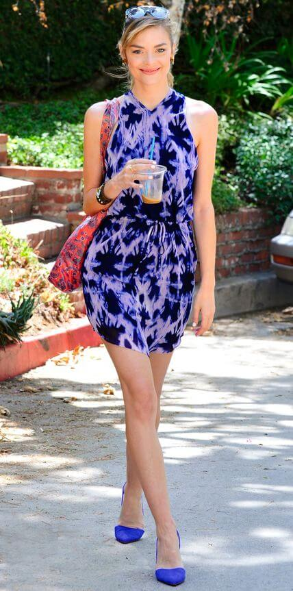 Bold and Beautiful: Jaime King combines shades of deep blue and purple, beautifully enhancing the warmth and depth in her skin.