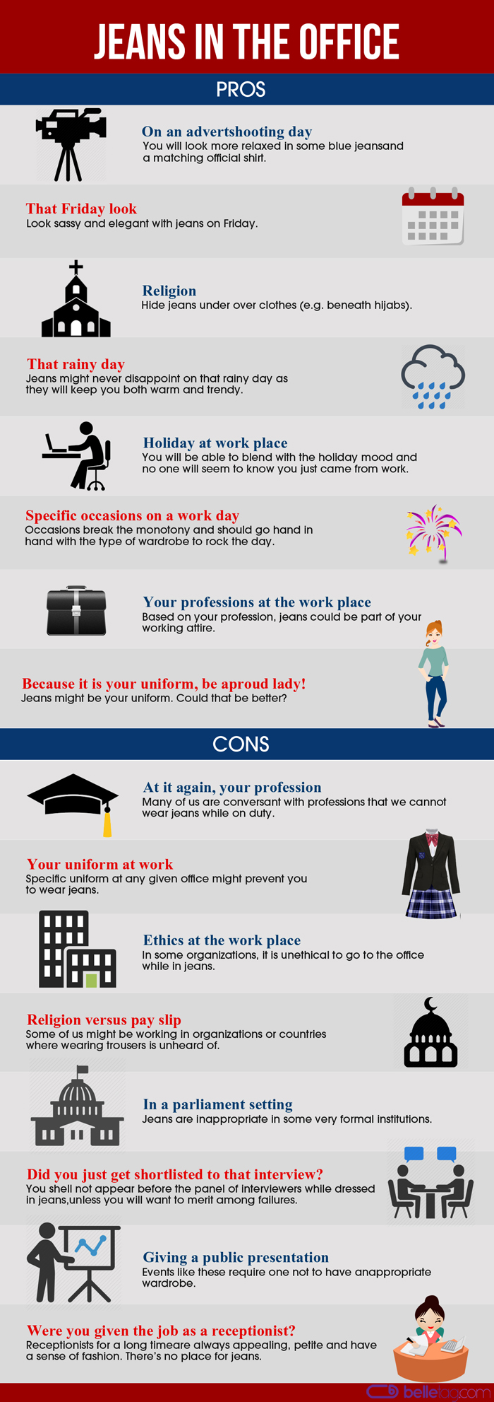 Infographic summarizing all Pros and Cons of wearing jeans in the office attire