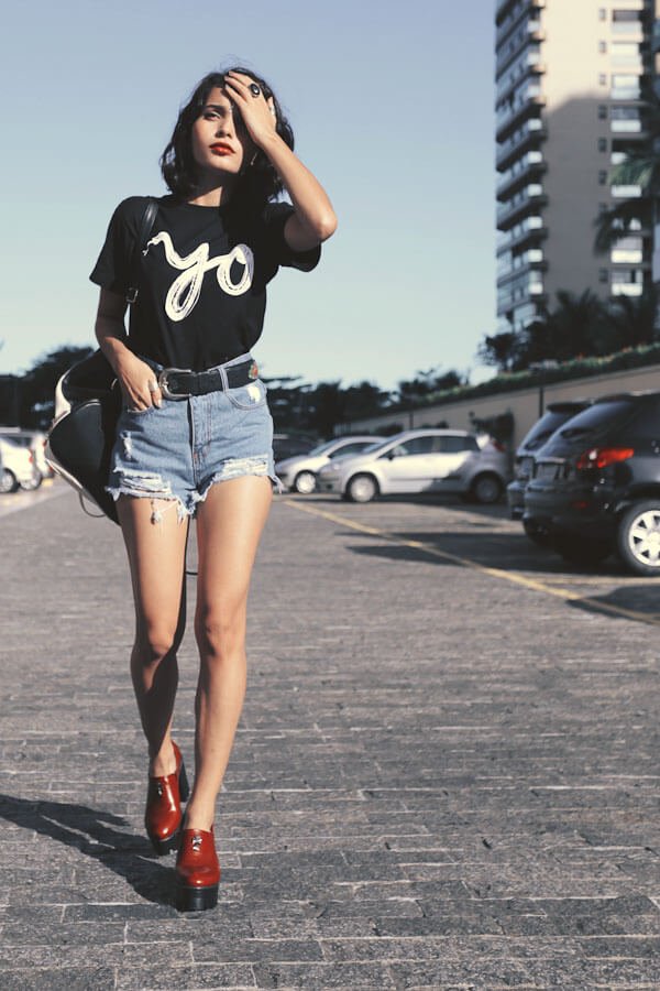 Get your retro glam on with high-waisted shorts.