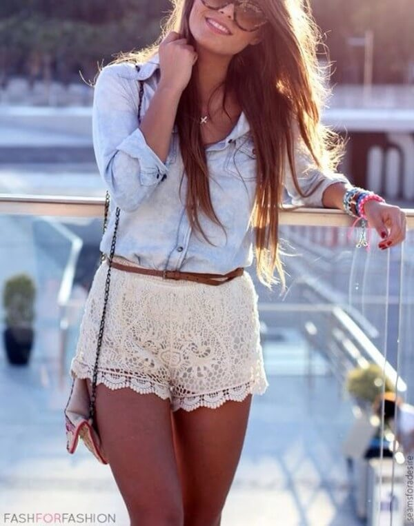Lace shorts are oh-so-pretty.