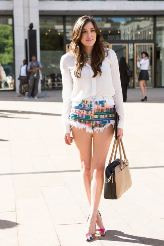 girl on the street with graphic shorts