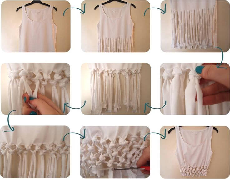 The making of knotted krop top