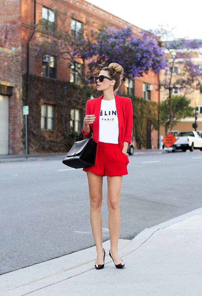 woman in red tailored shorts