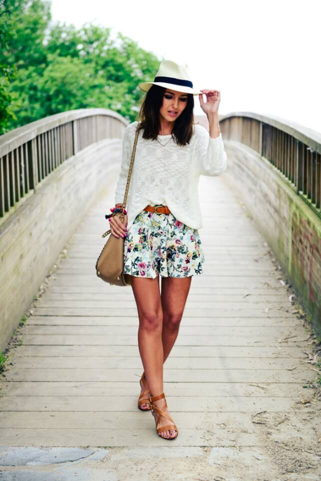 woman on the bridge with lace shorts