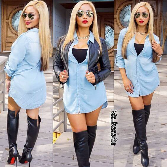 Collage of woman in blue shirtdress and leather knee high boots