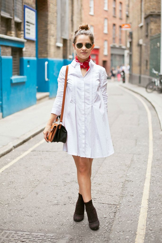 Cool outfit with white shirtdress and red bandana