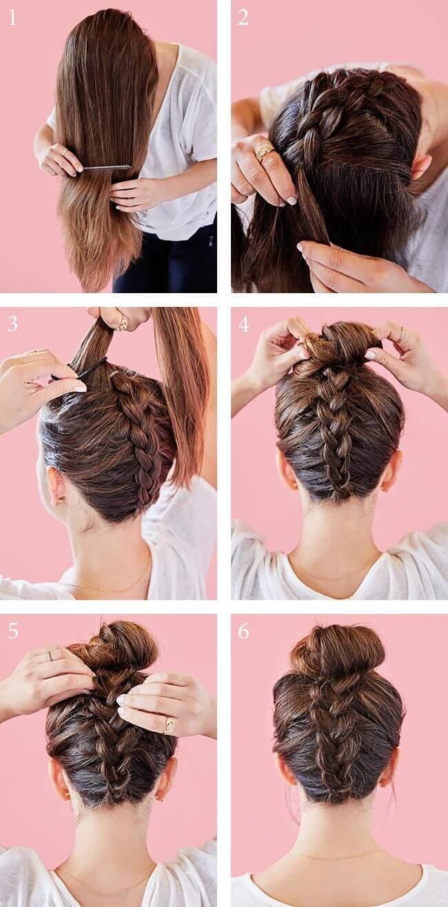 This simple yet elegant braided bun can be dressed up or down.