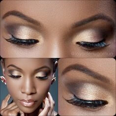 Gold smoky eye look
