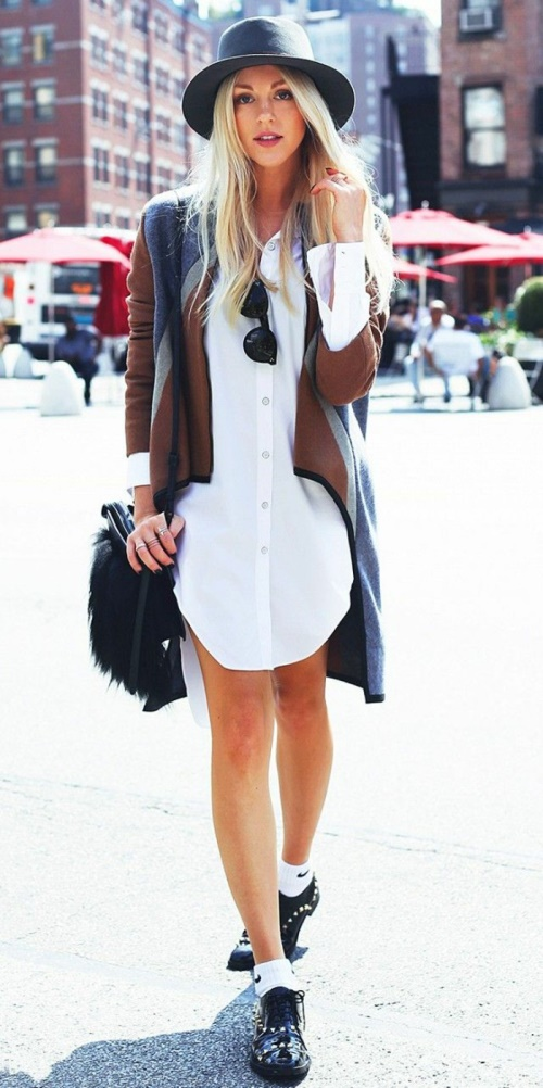Pretty girl with white shirtdress and accessories