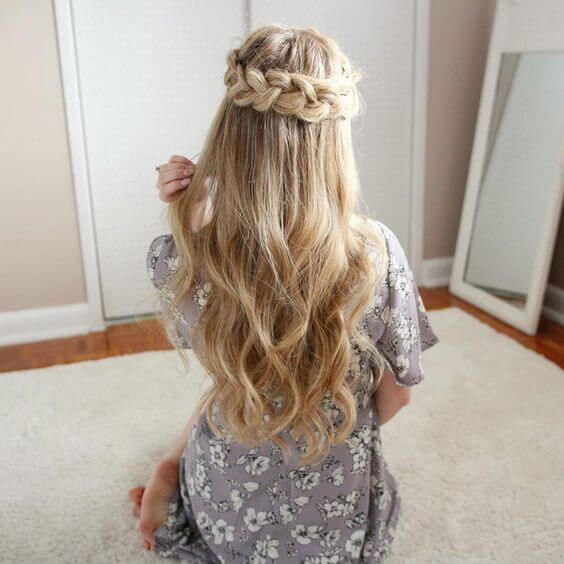 Simple half-crown braid