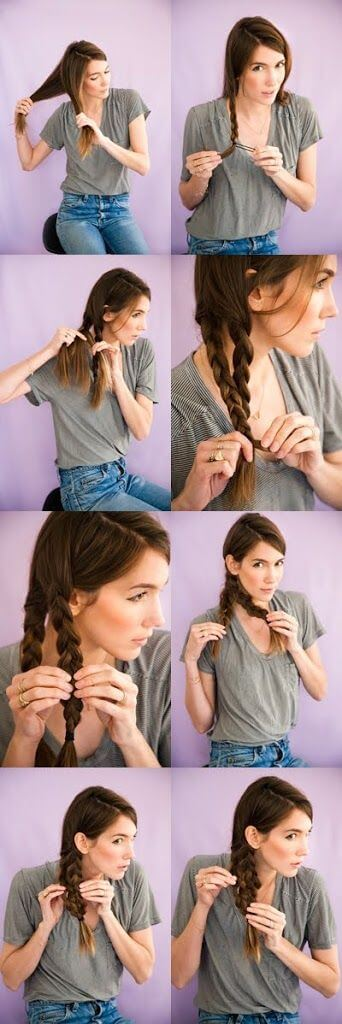 Two Dutch braids pinned together creates a stunning mermaid braid