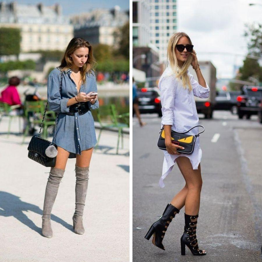 Wearing shirt dress with thigh high boots
