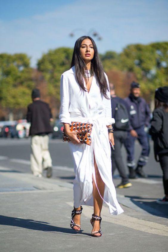 Woman in long white shirtdress
