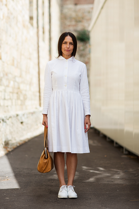 Woman in quite conservative shirtdress