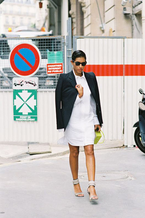 Add a formal touch to your white shirtdress with a blazer.