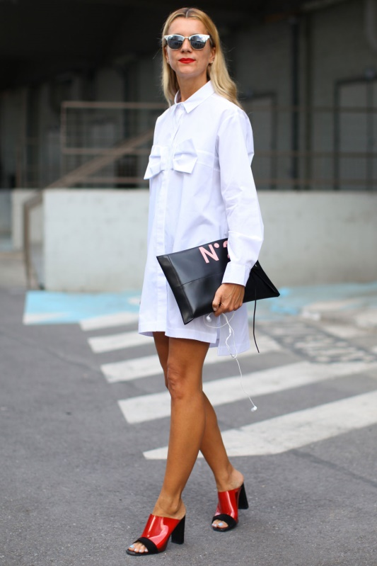 Woman in shirtdress with long sleeves