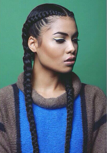 Woman with double Dutch braid
