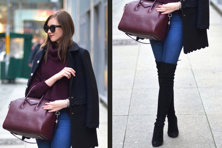 A collage of a girl wearing skintight skinny jeans and black Valentino coat