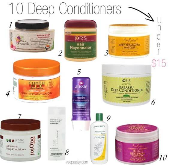 A compilation of 10 deep conditioners under $15