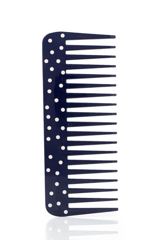 blue polka-dotted wide-tooth comb