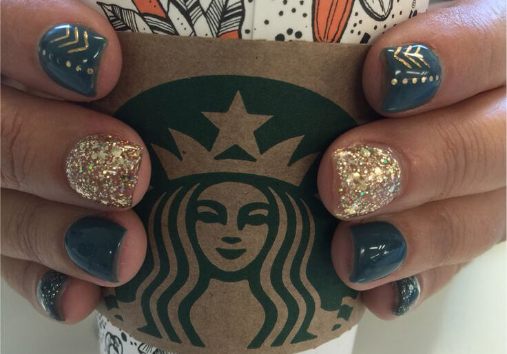 These gorgeous designs feature both gold and glitter polishes as well as a gel blue-gray.