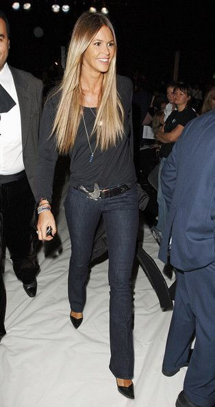 Elle MacPherson looking glamorous in one solid color