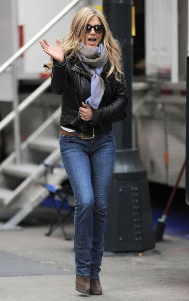 Jennifer Aniston in a gentle bootleg cut jeans slung low on the hips