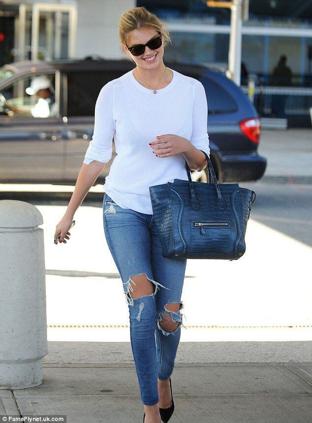 No Fuss Above the Waist: Kate Upton is bright and breezy in classic white and blue denim.