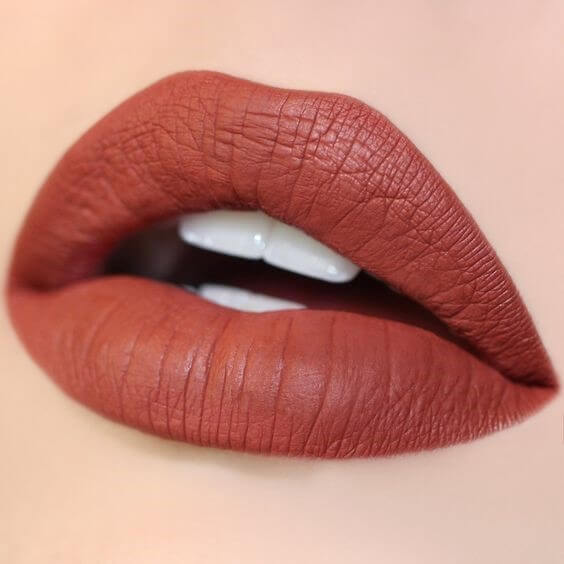 This warm lipstick shade is a mixture of red, brown, and orange.