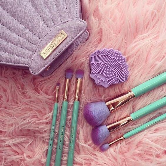 Purple and green makeup brushes from Spectrum Cosmetics