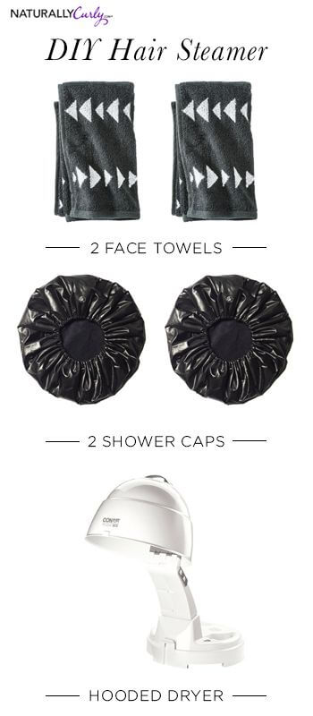 steam your hair at home with towels, shower caps and a hooded dryer