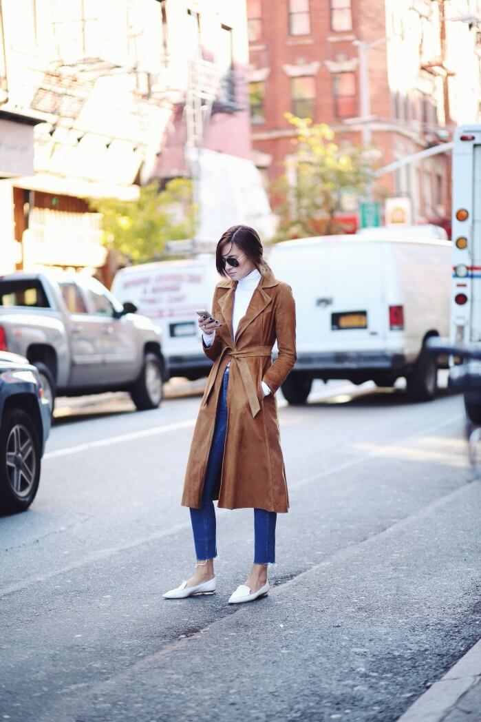 A longer length suede trench coat hits all the right style notes this fall.