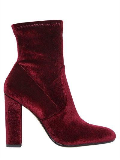 Ankle 'sock' boots in burgundy velvet with a medium heel