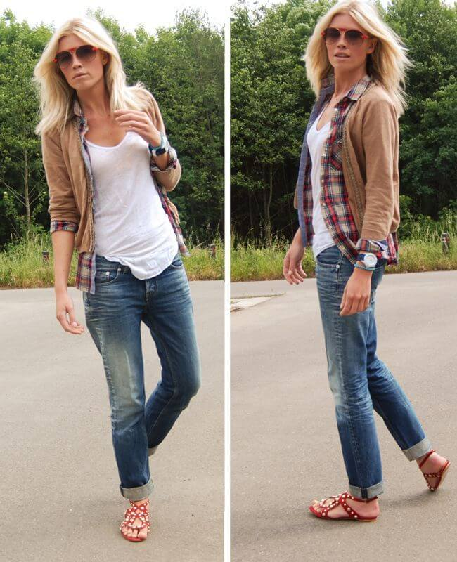 Blonde in white t-shirt with plaind flannel shirt on top