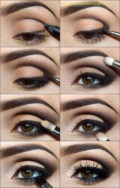 Step by step infographic on how to get an eyeshadow look with a defined crease and outer V