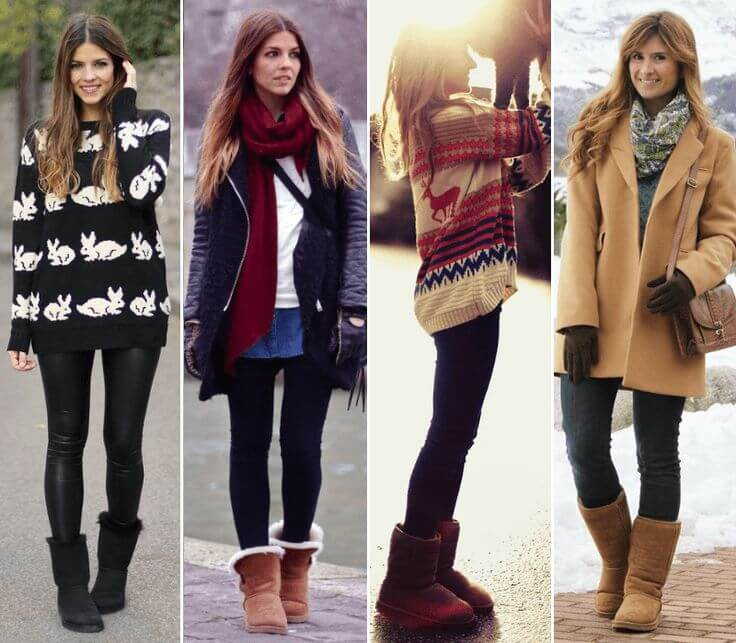 Different options of looks with Ugg boots.