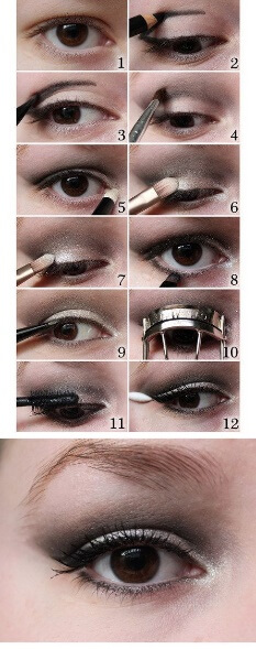 Infographic showing step-by-step how to define your crease and outer corner for hooded eyes