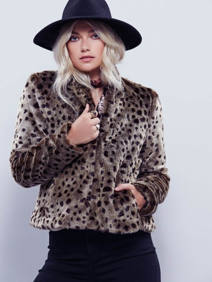 Model in faux fur leopard print coat