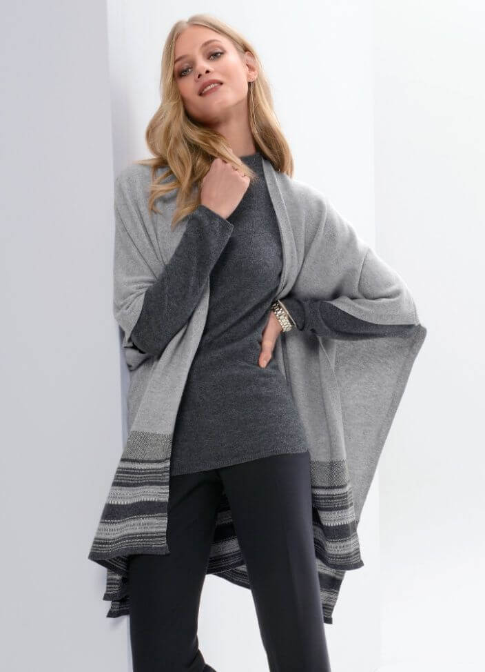 Model in gray cashmere cape