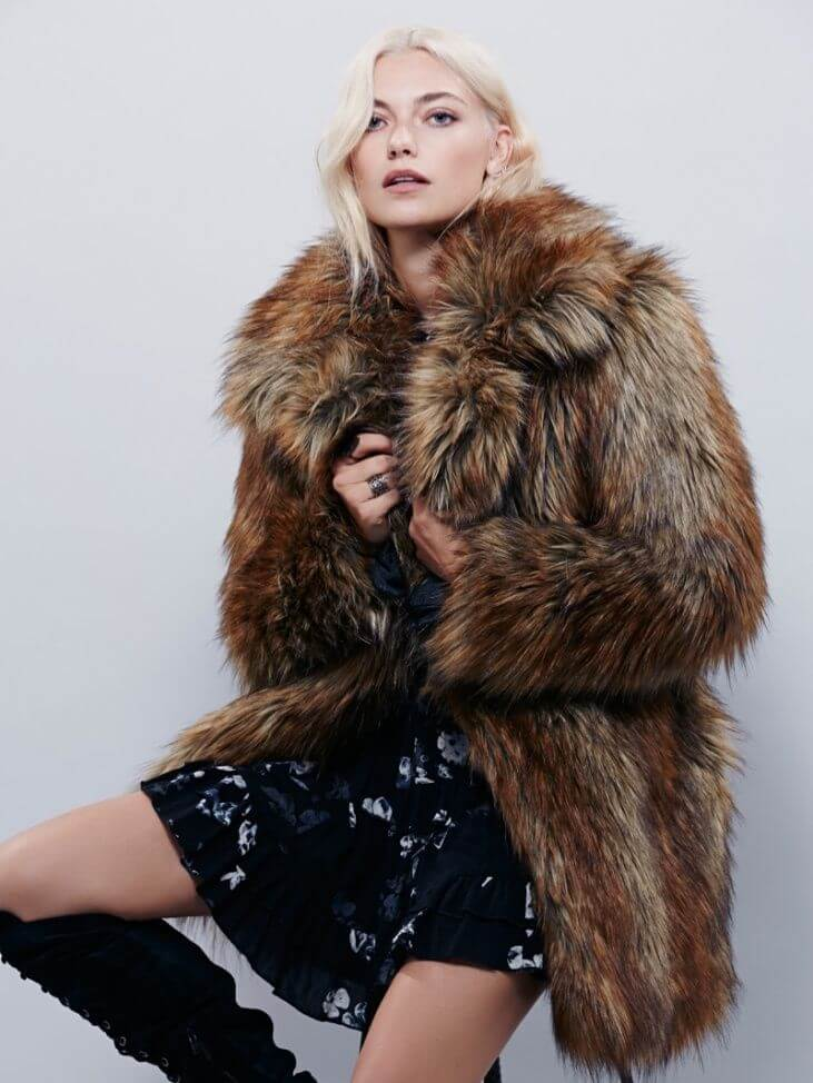 Model in shaggy Faux fur fox coat